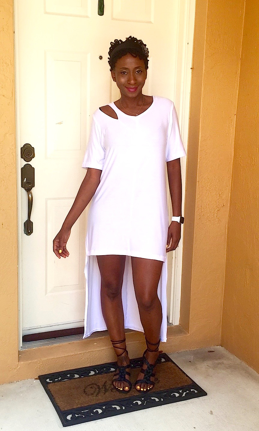White T-Shirt Dress with Shoulder Slit