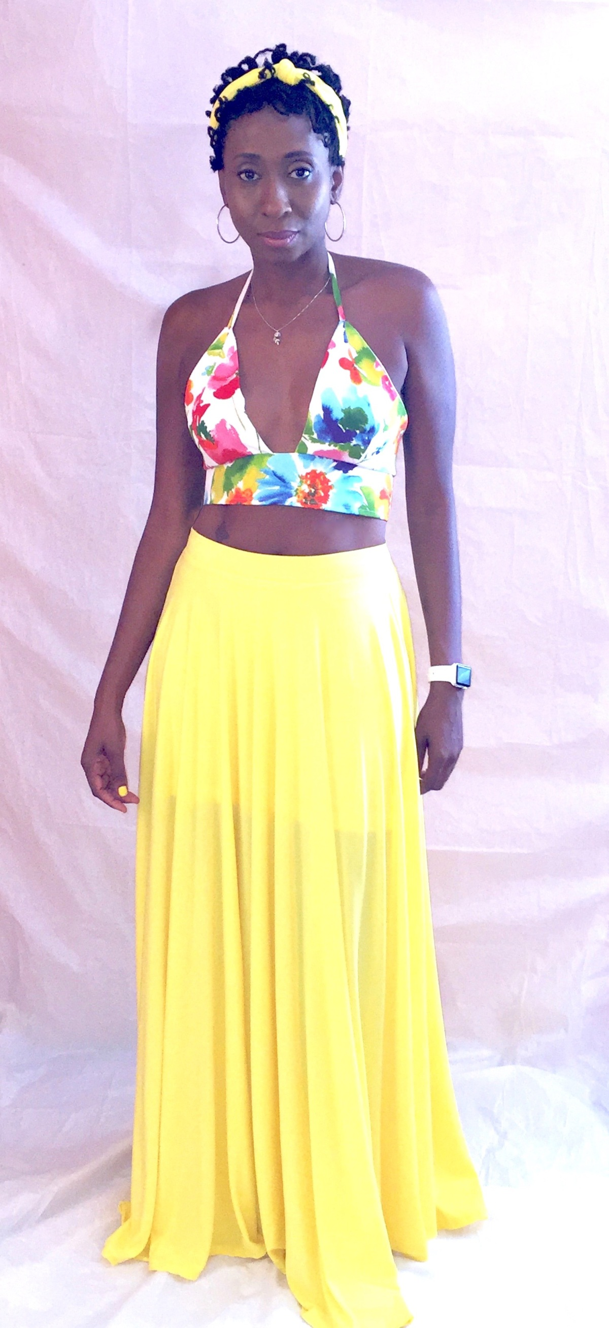 Halter Crop Top with Long Circle Skirt